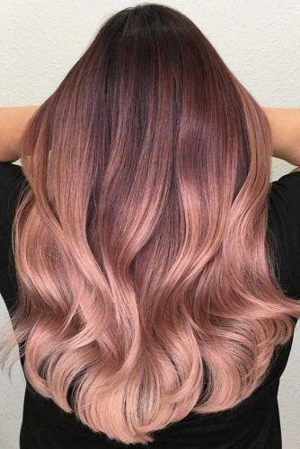 Rose Gold Hair Ombre Brunette #rosegoldhair