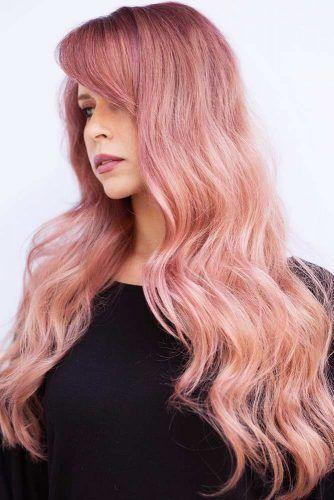 Rose Gold Hair Balayage Messy #rosegoldhair