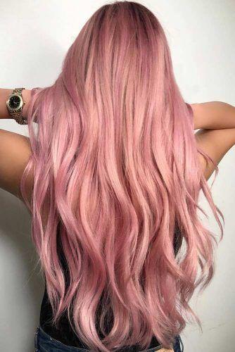 Rose Gold Hair Balayage Sleek #rosegoldhair