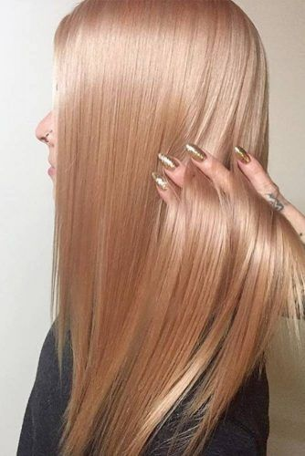 Peach Rose Gold Hair For Blondes Long #rosegoldhair