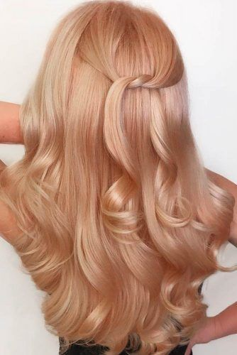 Peach Rose Gold Hair For Blondes Waves #rosegoldhair