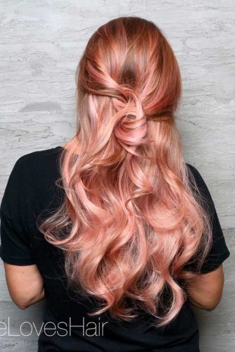 Rose Gold Hair Color Ideas for Long Hair picture2