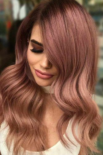 Rose Gold Color For Long Hair Wavy #rosegoldhair