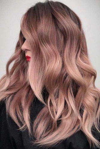 Rose Gold Color For Long Hair Brunette #rosegoldhair