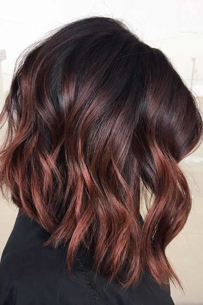 Dark Wavy Angled Long Bob Haircuts With Cherry Red Highlights #bobhaircut #haircuts