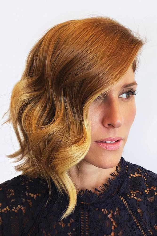 Wavy Asymmetrical Medium Bob With Strawberry Blonde Balayage #bobhaircut #haircuts