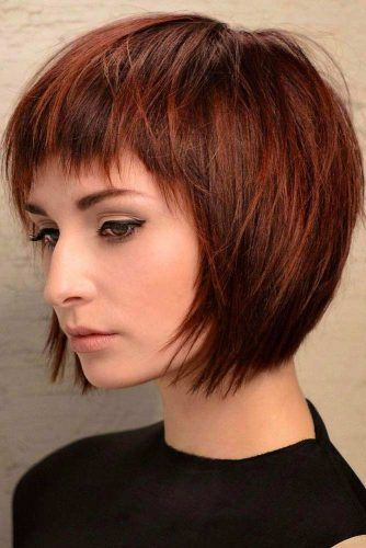 Auburn Bob Hairstyles With Bangs #bobhaircut #haircuts