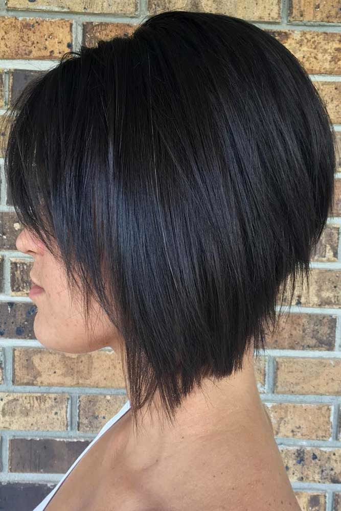 Black Bob With Bangs #bobhaircut #haircuts