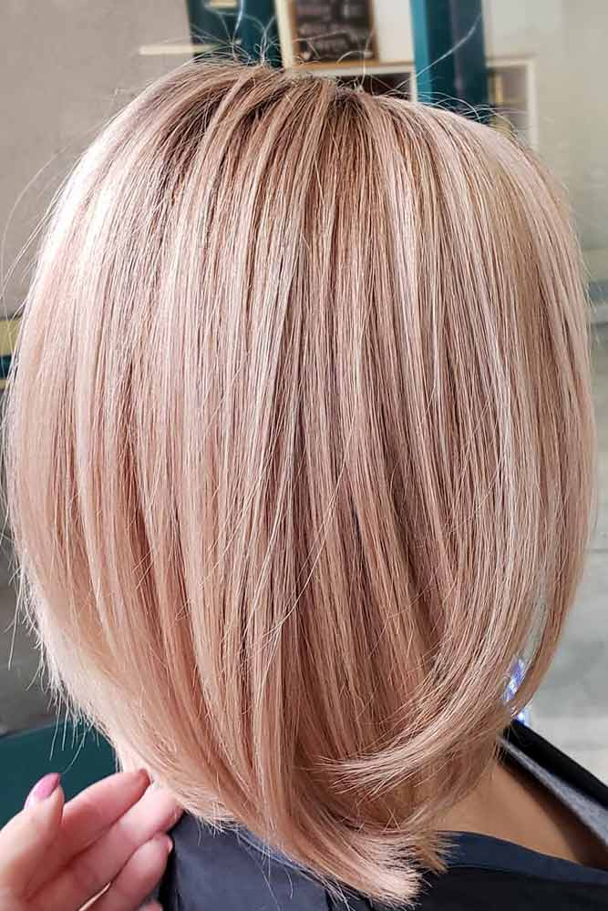 Pale Rose Gold Stacked Lob #bobhaircut #stackedbob #haircuts