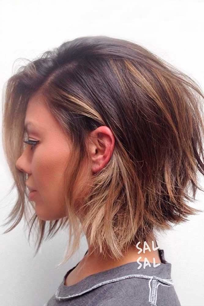Brown Bob With Highlights #bobhaircut #haircuts