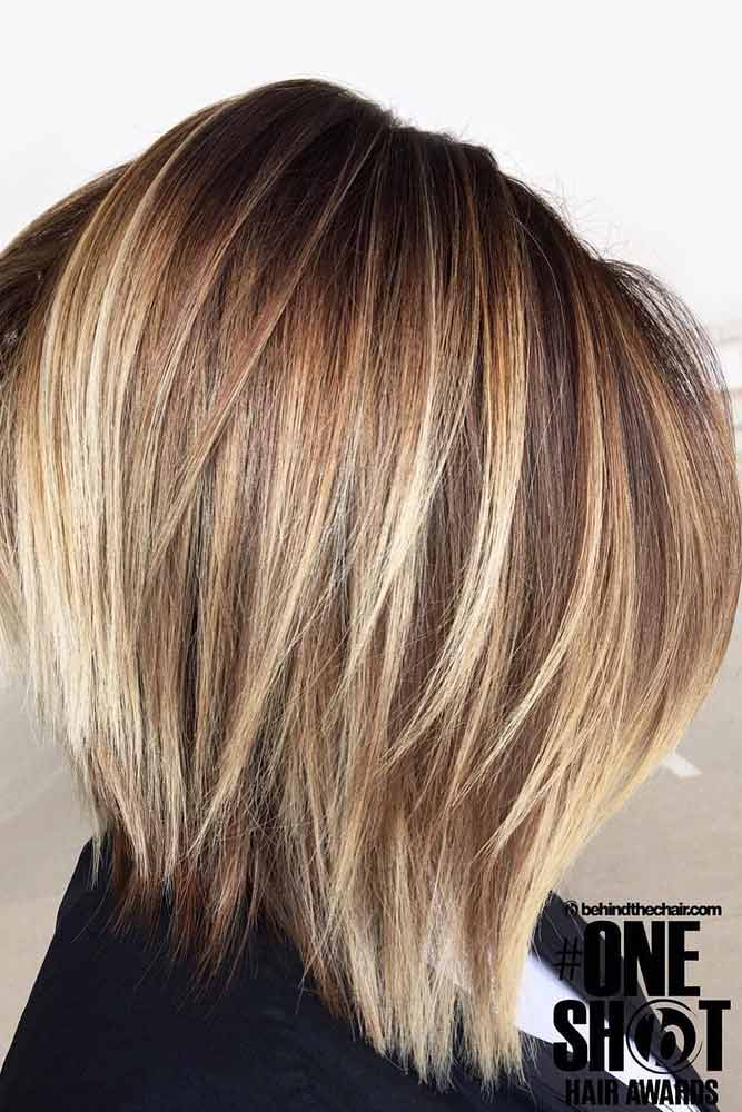 Layered Brown Bob With Highlights #bobhaircut #stackedbob #haircuts #mediumhair #straighthair