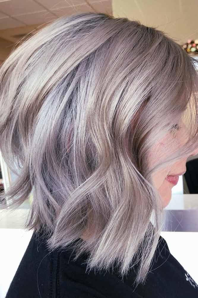 Lilac Silver Wavy Lob #bobhaircut #stackedbob #haircuts