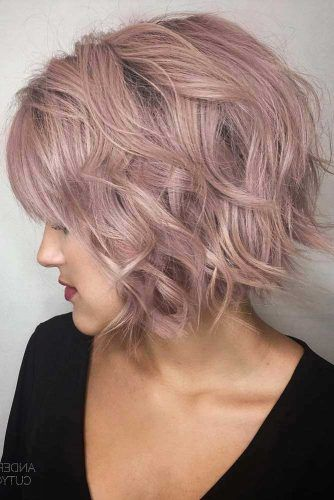 Short Stacked Bob In Lavender Color #bobhaircut #haircuts