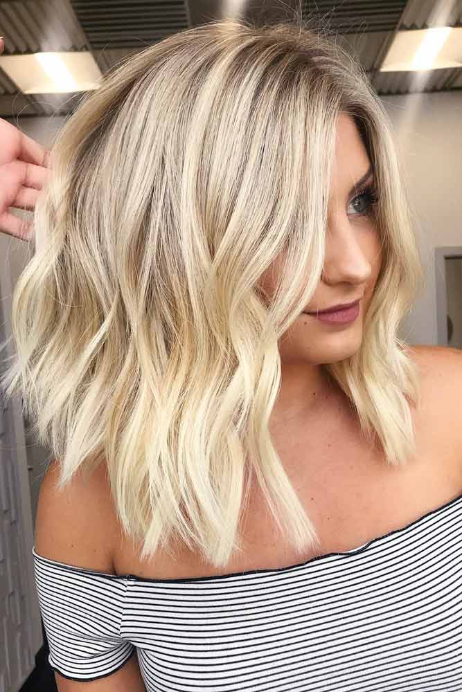 Blonde Stacked Middle Parted Lob #bobhaircut #stackedbob #haircuts