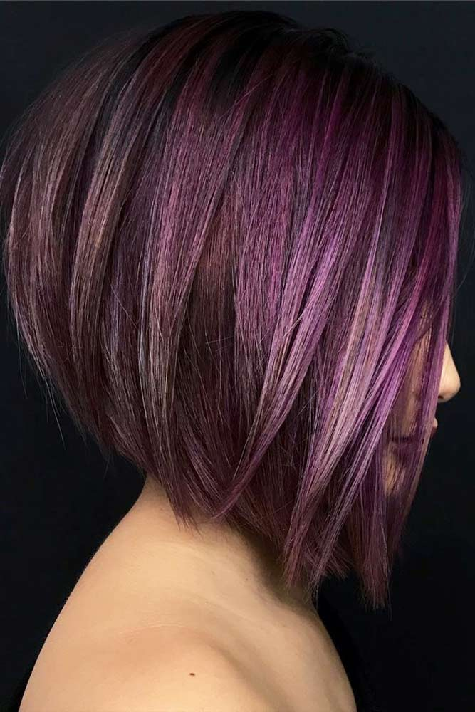 Middle Parted Straight Medium Purple Bob #bobhaircut #stackedbob #haircuts