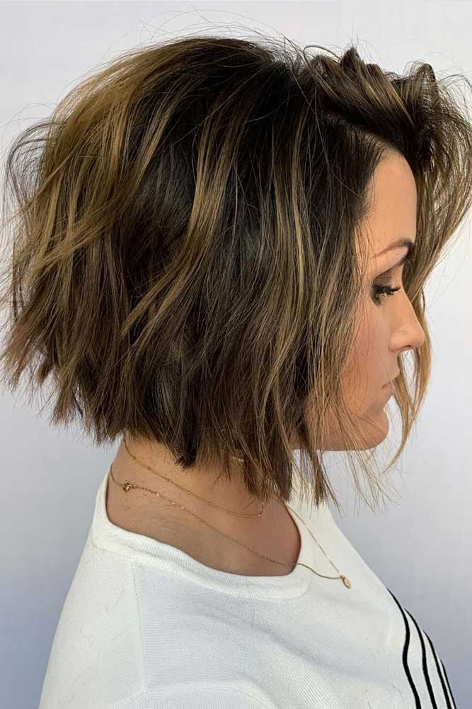 Messy Short To Medium Bob #stackedbob #haircuts