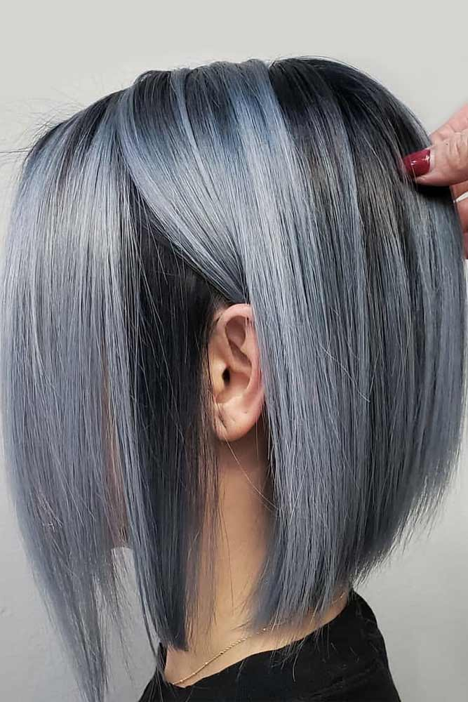 Metallic Blue Straight Bob #bobhaircut #stackedbob #haircuts
