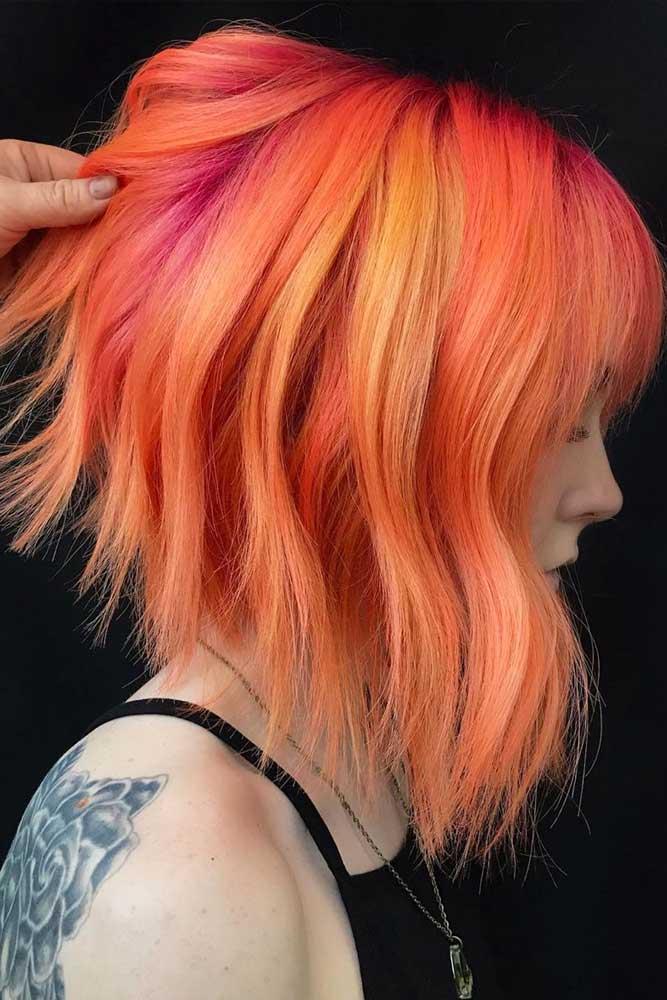 Orange Stacked Bob With Bangs #bobhaircut #stackedbob #haircuts