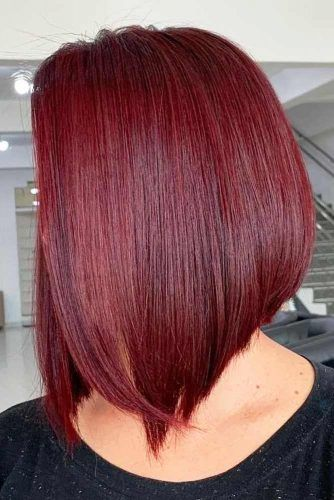 Red Wine Stacked Straight Lob #bobhaircut #stackedbob #haircuts