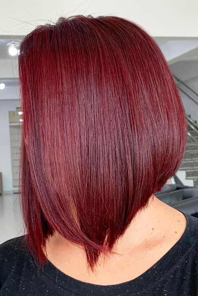 Red Wine Stacked Straight Lob #bobhaircut #stackedbob #haircuts