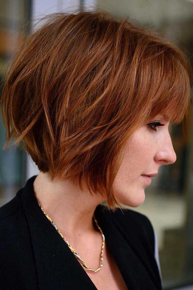 Light Auburn Short Layered Bob Haircut With Bangs #bobhaircut #haircuts