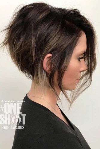 Side Parted Short Stacked Bob #bobhaircut #stackedbob #haircuts