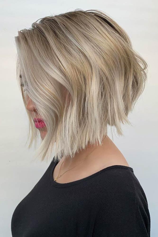 Blonde Stacked Bob #stackedbob #haircuts #mediumhair