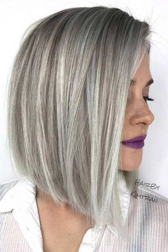 Pretty Stacked Bobs To Impress Silver Color #bobhaircut #stackedbob #haircuts #mediumhair #straighthair