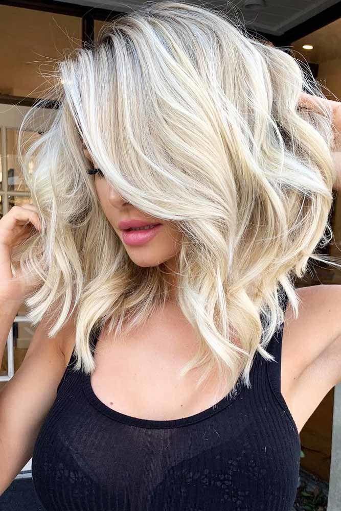 Side Parted Wavy Lob #bobhaircut #haircuts