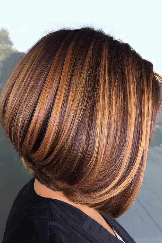 Pumpkin Spice Short Stacked Straight Bob #bobhaircut #haircuts