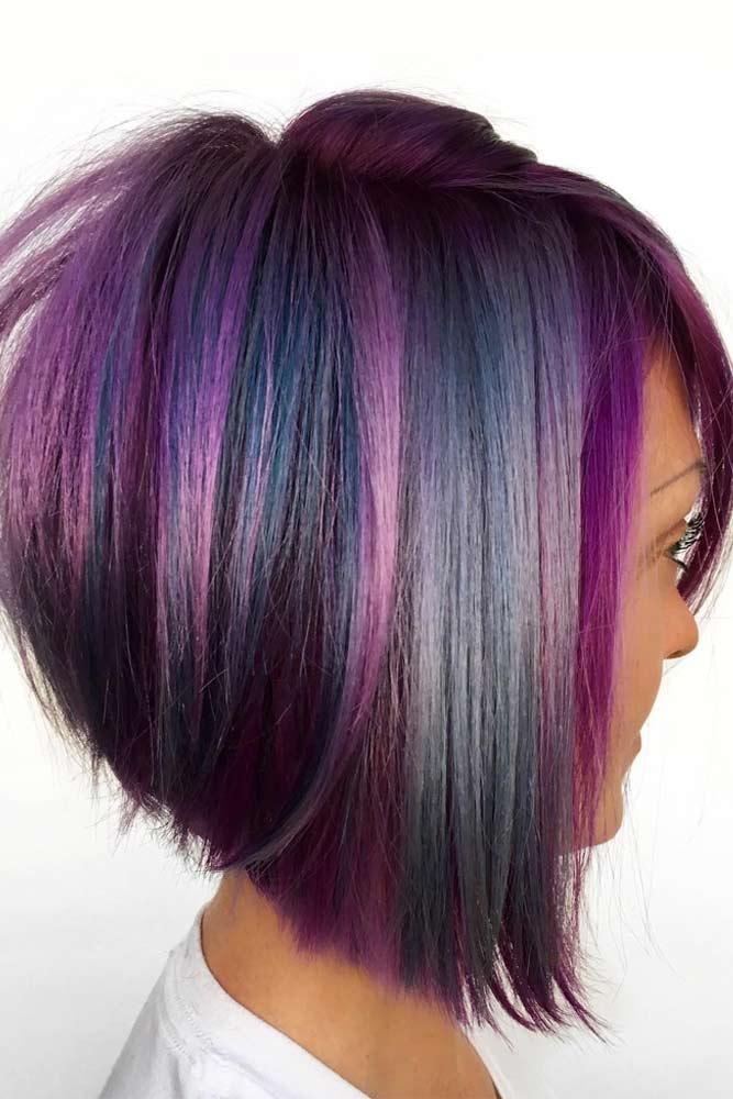 Stacked Bob With Colored Highlights #bobhaircut #stackedbob #haircuts