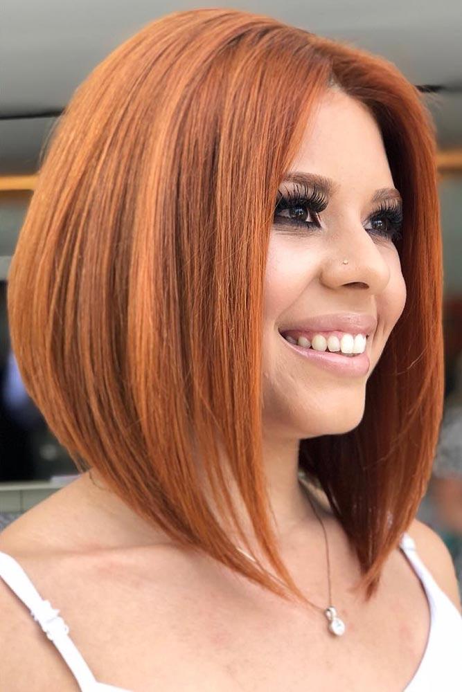 Auburn Bright Bob Haircuts For Brave Girls #bobhaircut #stackedbob #haircuts #mediumhair #straighthair
