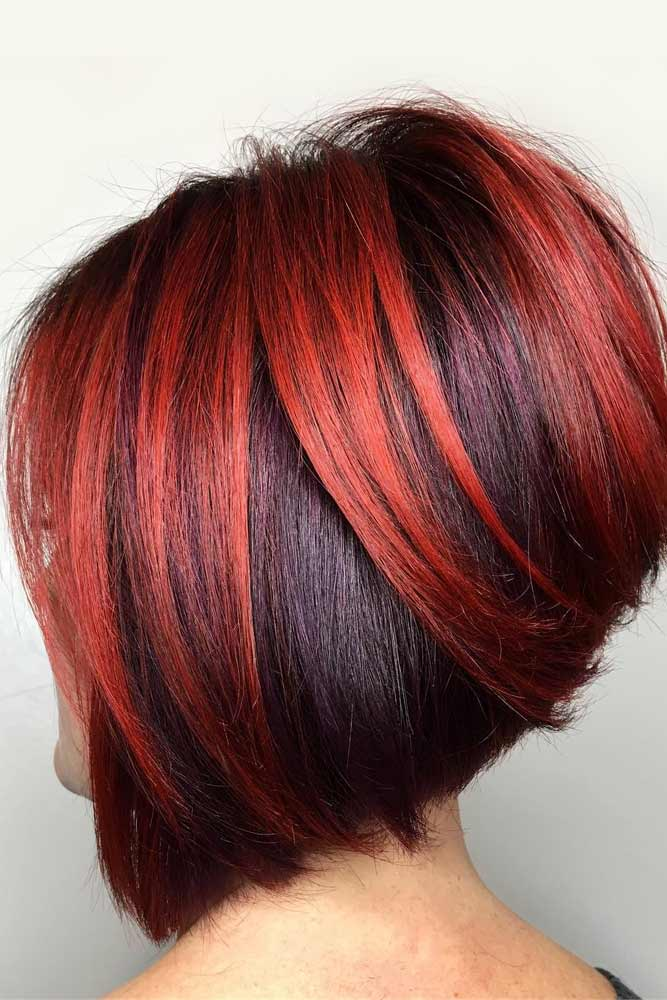 Stacked Bob With Red Highlights #bobhaircut #stackedbob #haircuts
