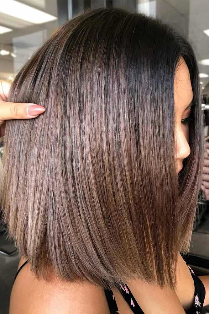 Straight Bob With Brown Balayage #bobhaircut #haircuts