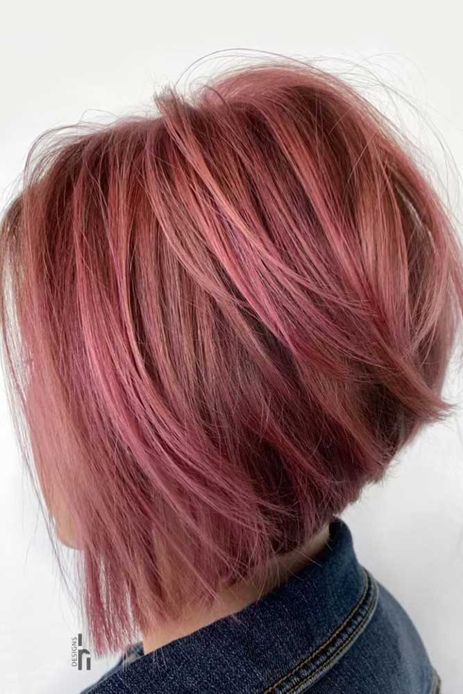 Textured Pink Stacked Bob #bobhaircut #stackedbob #haircuts