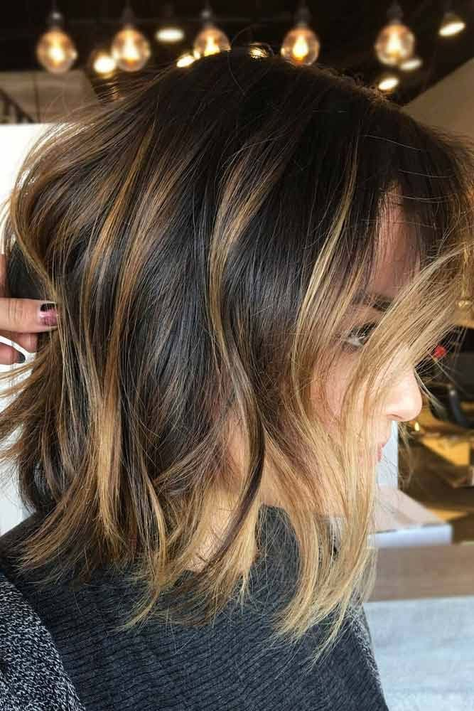 Textured Bob Haircut With Dark Chocolate And Caramel Highlights #bobhaircut #haircuts