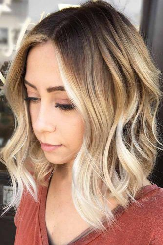 Wavy Stacked Bob With Blonde Balayage #bobhaircut #stackedbob #haircuts