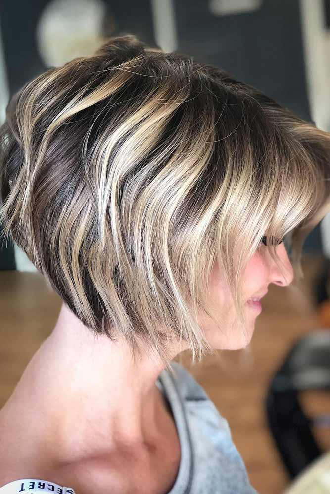 Wavy Short Stacked Bob With Bangs #bobhaircut #stackedbob #haircuts