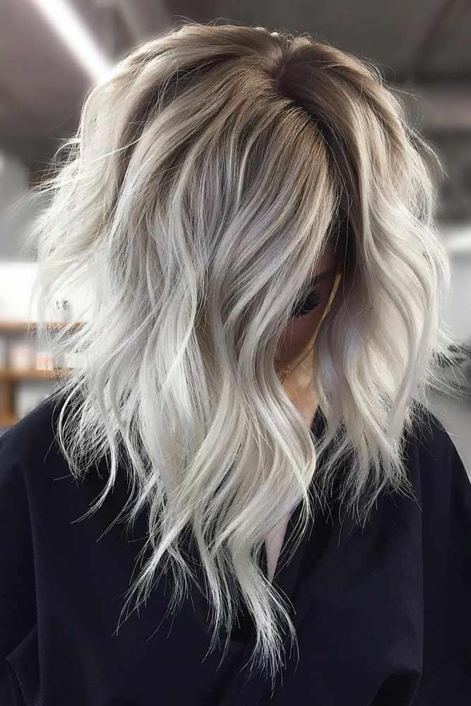 Silver Wavy Stacked Lob #bobhaircut #stackedbob #haircuts