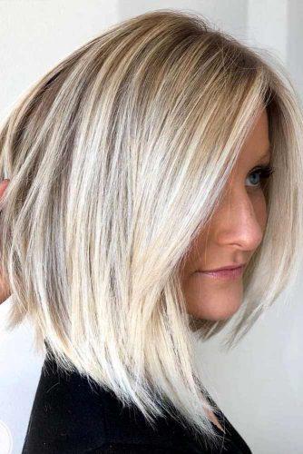 Blonde Balayage Asymmetrical Straight Lob #bobhaircuts #haircuts #asymmetricalbob #longbob #blondebalayage