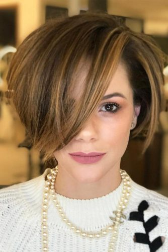 Side Bang Style Idea for Short Bob Haircuts