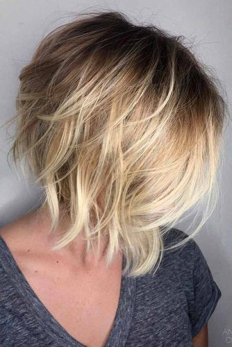 Layered Messy Bob #bobhaircuts #haircuts #invertedbob #shortbob #blondebalayage
