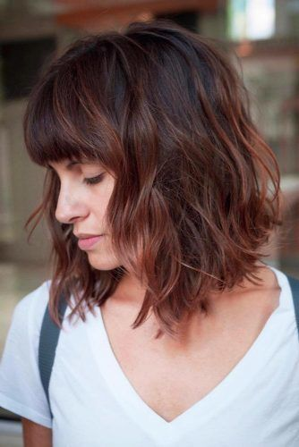 Wavy Bob With Fringe #bobhaircuts #haircuts