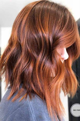 Glossy Auburn Shade For Long Bob Haircuts  #bobhaircuts #haircuts