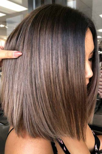 Straight Bob With Brown Balayage #bobhaircuts #haircuts #longbob #straighthair