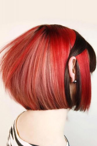 Red Color In Combination With Brown Hair