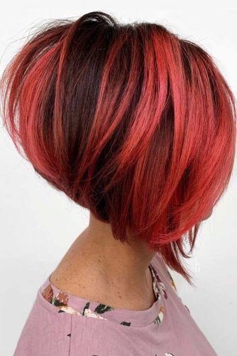 Straight Stacked Bob #shorthair #redhair #haircolor