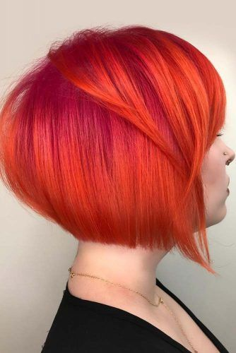 Stacked Bob With Bangs #shorthair #redhair #haircolor
