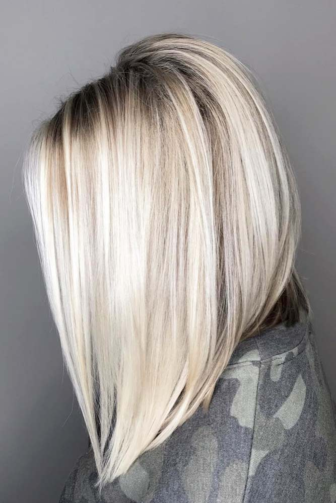 Icy Blonde Inverted Bob #mediumhair #mediumhairstyles