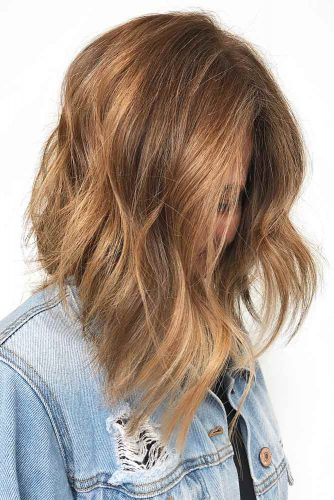 Asymmetrical Medium Haircut #mediumlengthhairstyles #mediumhair #thickhair #longbob #caramelhair